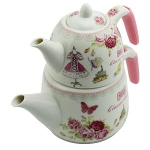 Miraç Desenli Porselen Çaydanlık - Çiçek