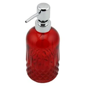 Menba Cam Yuvarlak Sıvı Sabunluk - Kırmızı