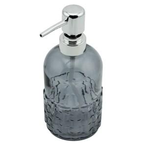 Menba Cam Yuvarlak Sıvı Sabunluk - Gri