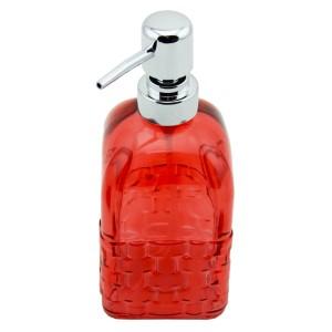 Menba Cam Kare Sıvı Sabunluk - Kırmızı