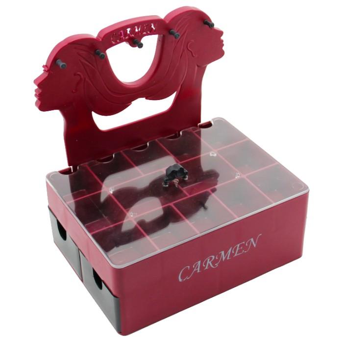 Carmen Çekmeceli Masa Üstü Takı Kutsu - Kırmızı