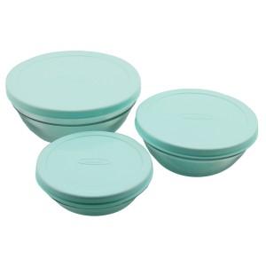İpek 3'lü Plastik Kapaklı Cam Saklama Kabı - Mavi