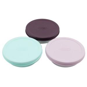 İpek 3'lü Renkli Plastik Kapaklı Cam Saklama Kabı