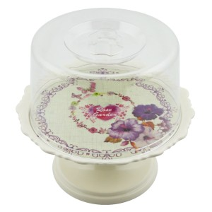 Cooker Melamin Ayaklı Mini Kek Fanusu - Krem