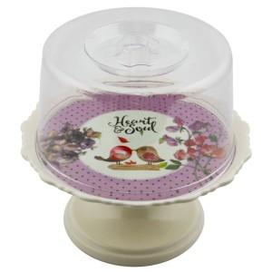 Cooker Melamin Ayaklı Mini Kek Fanusu - Mor