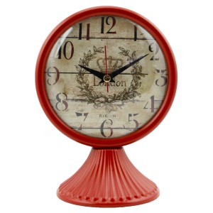 Rikon Antik Ayaklı Metal Masa Saati - Kırmızı
