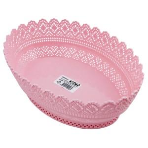 Bastonlu Plastik Dantelli Ekmek Sepeti Oval Pembe