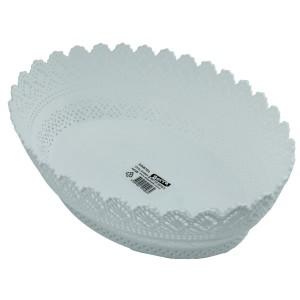 Bastonlu Plastik Dantelli Ekmek Sepeti Oval Beyaz