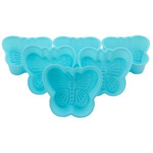 Miraç 6'lı Slikon Kelebek Muffin Kabı Mavi